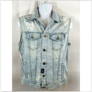 Zara Men's Light Wash Distressed Denim Vest Size L